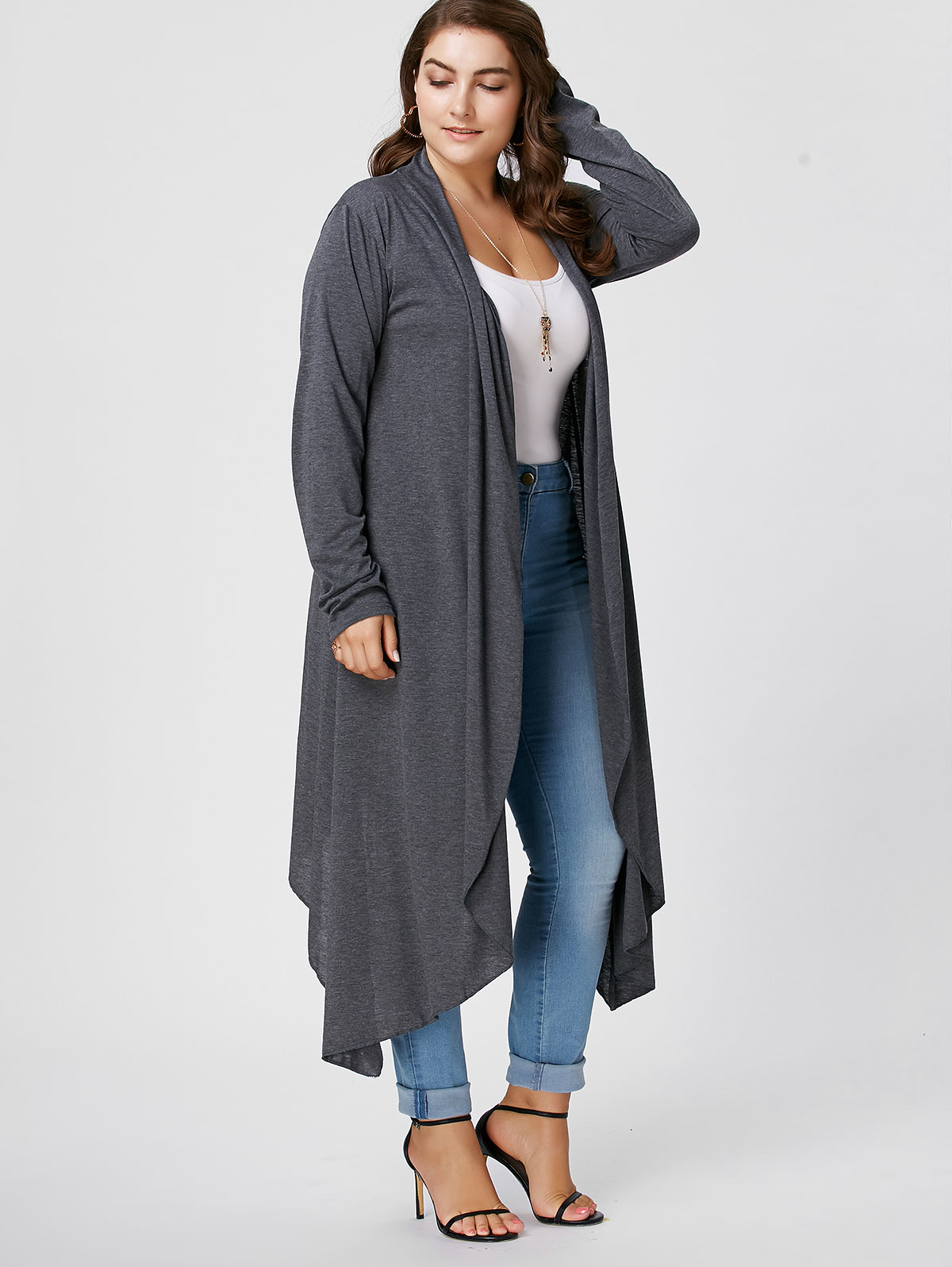 Gamiss Loose Long Asymmetrical Cardigan Coat Women Autumn Long ...
