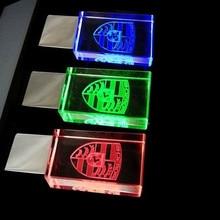 Top Quality Crystal Metal Transparent 3Color LED Light for Car Logo  8GB 16GB 32GB 64GB USB Flash 2.0 Memory Drive Stick Pen