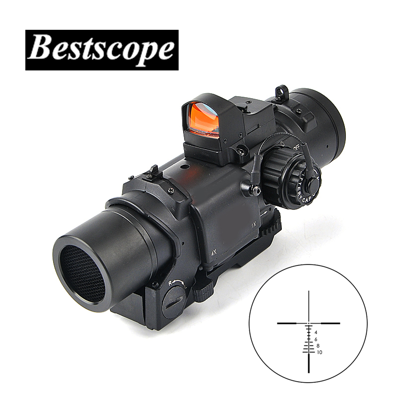 Tactical 1x 4x Fixed Dual Purpose Scope With Mini Red Dot Scope Red Dot Sight for