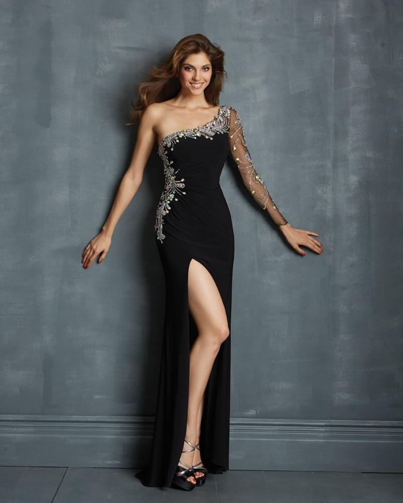 Popular Black One Sleeve Prom Dress-Buy Cheap Black One Sleeve ...