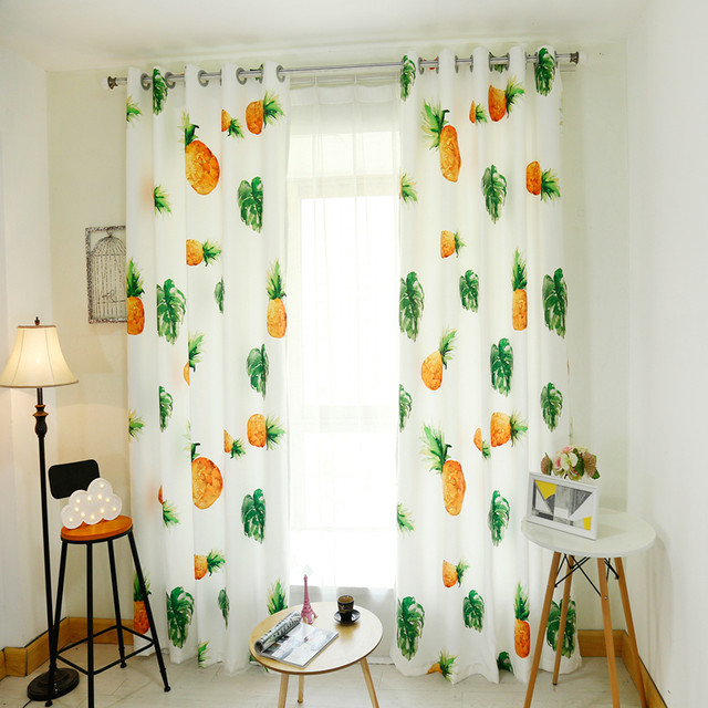 3D Blackout Curtains Cartoon Fruit Pineapple Watermelon Pattern Thickened Velvet Fabric Children Bedroom Curtain For Living Room