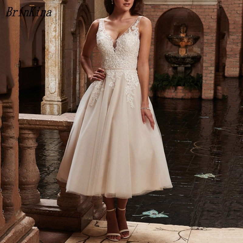BrinKina 2019 Lovely V Neck Lace Beadings Ankle Length Bridal Gown Wedding Dancing Dresses Organza Vestidos de Curto