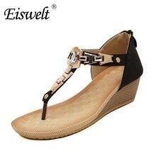 Eiswelt Sandalen Frauen Strand Schuhe Böhmische Wort Bimetallstreifens Offene spitze Procrastinate Dicken Boden Keil Sandalen Schuhe # DZW60