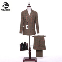 Folobe New Stock Wool Mens Khaki Stripes Suits Jacket Pants Formal Dress Men Suit Set men wedding suits groom tuxedos M17