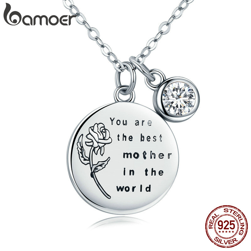 BAMOER Genuine 925 Sterling Silver Best Mother Rose Flower Engrave Pendant Necklaces for Women Fine Jewelry Mom Gift SCN209 браслет с брелоками bamoer 50