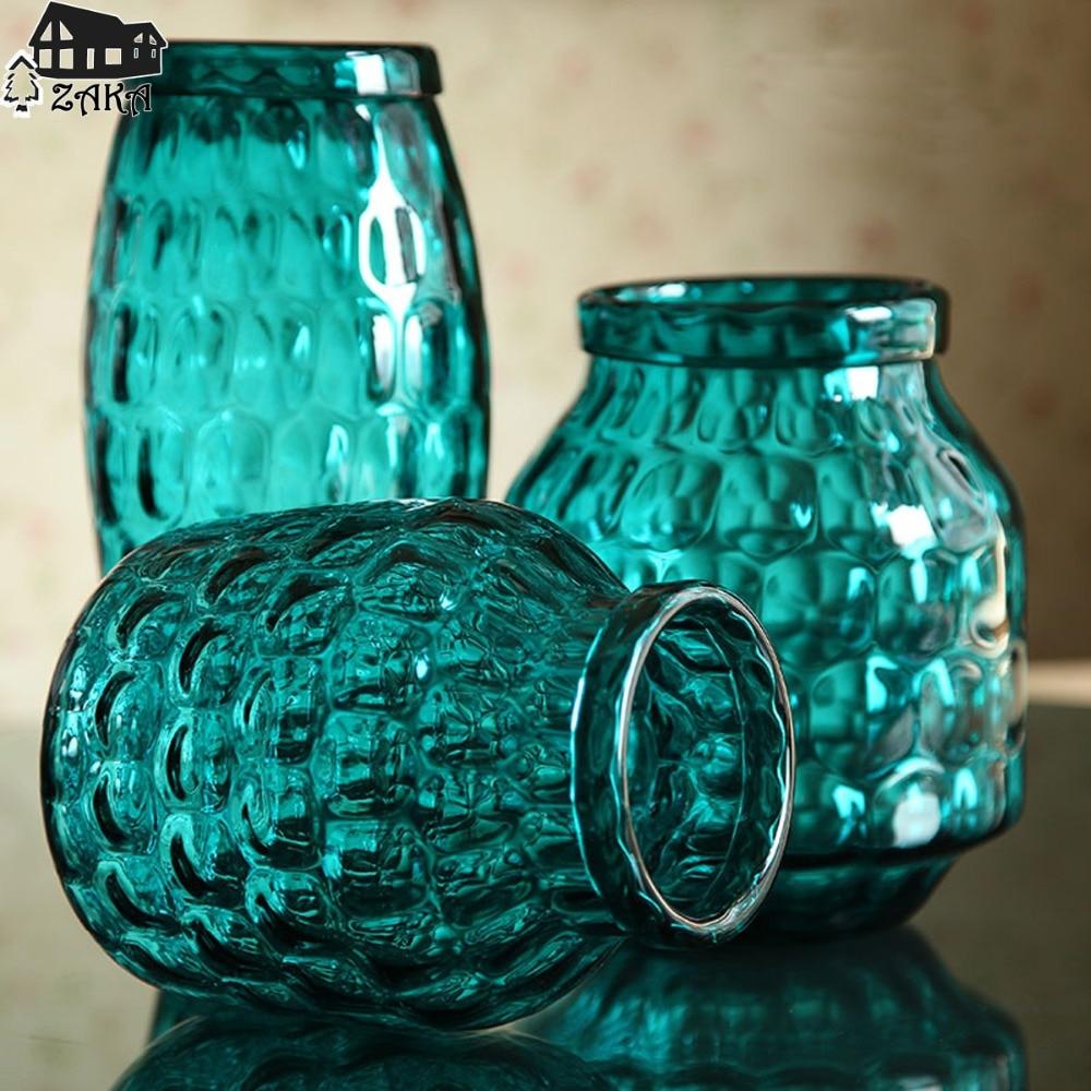 1Pcs New KEYAMA Transparent Blue bubble style Retro simple European desktop Glass vases Home decorative storage bottles