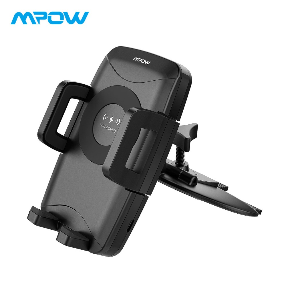 Mpow CD Slot Car Phone Holder Mount&Qi Wireless Charger With 3 Charging Powers For iPhone X 8 8Plus Samsung S9 S8 S7 S6/edge