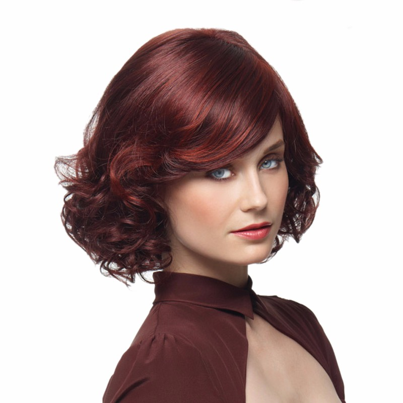 3380c9c1111 New Stylish Synthetic Wigs Wine Red Short Curly Hair With Bangs ...