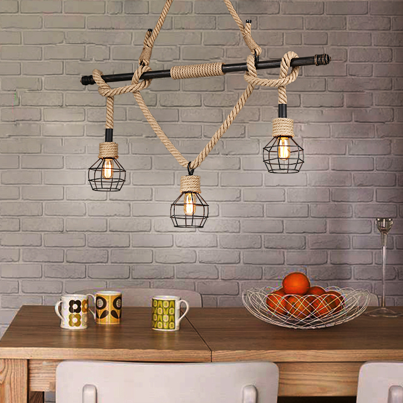 Creative industrial Pendant Lights hemp loft iron pipe bar dining room Pendant Lamps Nordic art RETRO coffee 3 head GY299 loft style vintage pendant lamp iron industrial retro pendant lamps restaurant bar counter hanging chandeliers cafe room