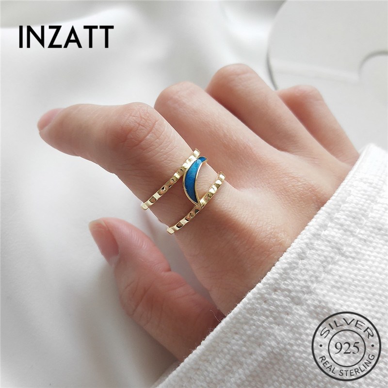 INZATT Real 925 Sterling Silver Blue Enamel Moon Cute Openwork Ring Fine Jewelry For Women Wedding Party Bague Femme Mode 2018