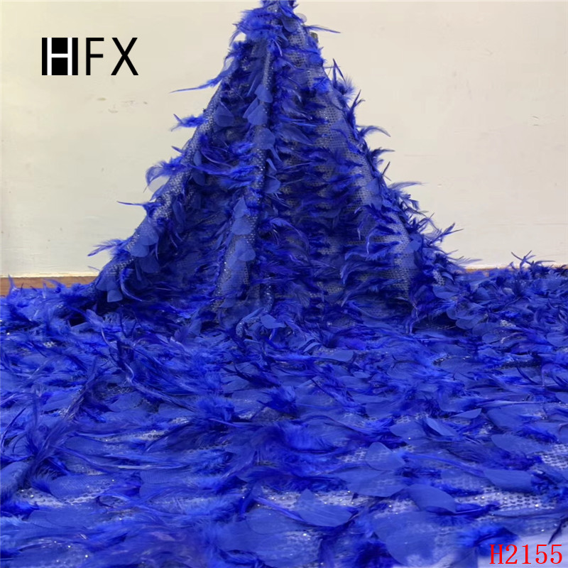 HFX Luxury feather lace feather fabric Handmade DIY african lace fabric dentelle 5yard for evening party free shipping H2155