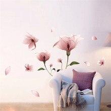New Romantic Elegante Helado de Color Rosa Lirio de Pétalos de Flores Etiqueta de La Pared Removible Para Vinilos Paredes Dormitorio Sala de estar Decoración Del Hogar