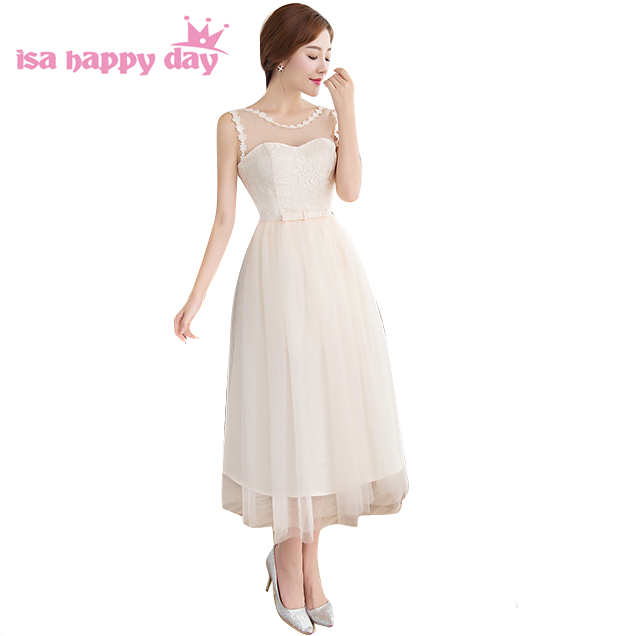 2019 Classy Ladies Formal Modest Tulle Braidmaids Elegant Cute Bridesmaid Tea Dresses With Half Sleeves Ball Gowns B3893