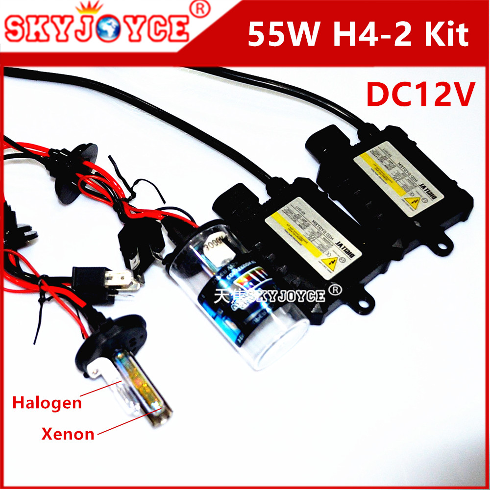 DC12V 55W hid xenon kit H4-2 xenon headlight H4L 6000K 8000K 4300K deep blue H4 halogen xenon for H4  headlight replacement стоимость