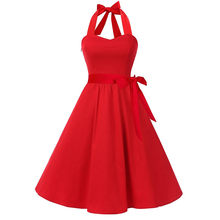 Vestidos mujer Women Sleeveless Plus Size 4XL Solid Zipper Hepburn Vintage Swing High-Waist Pleated Dress Navy,Red,Black Colors(China)