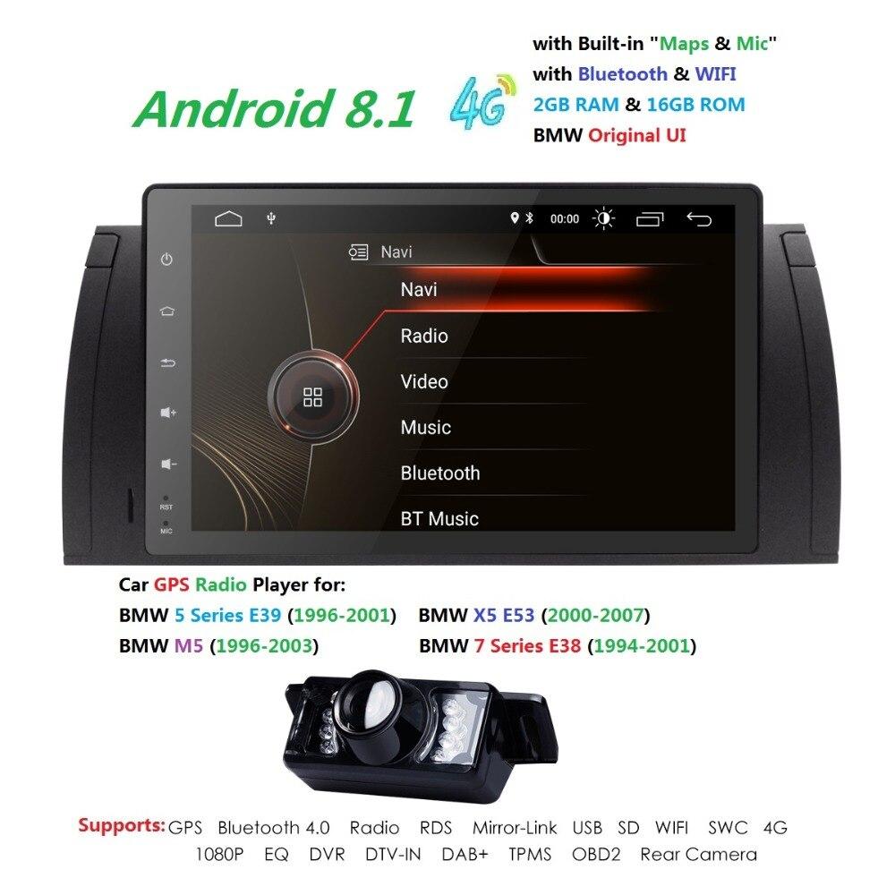2 + 16 Android 8.1 pour bmw E39, X5, M5, E53 voiture pas dvd, navigation gps, wifi, radio, bluetooth, cache de volant Canbus carte, micro, écran tactile
