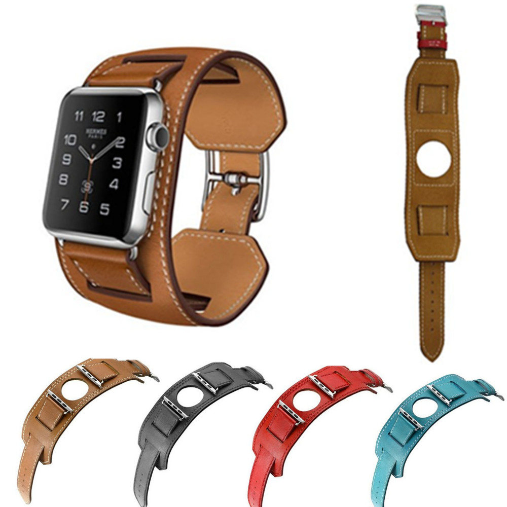 EIMO Genuine leather Cuff Bracelet strap for apple watch band 42mm/38mm watchband metal classic buckle hermes iwatch 4 3 2 1 leather double buckle cuff band for apple watch 38mm 42mm strap bracelet