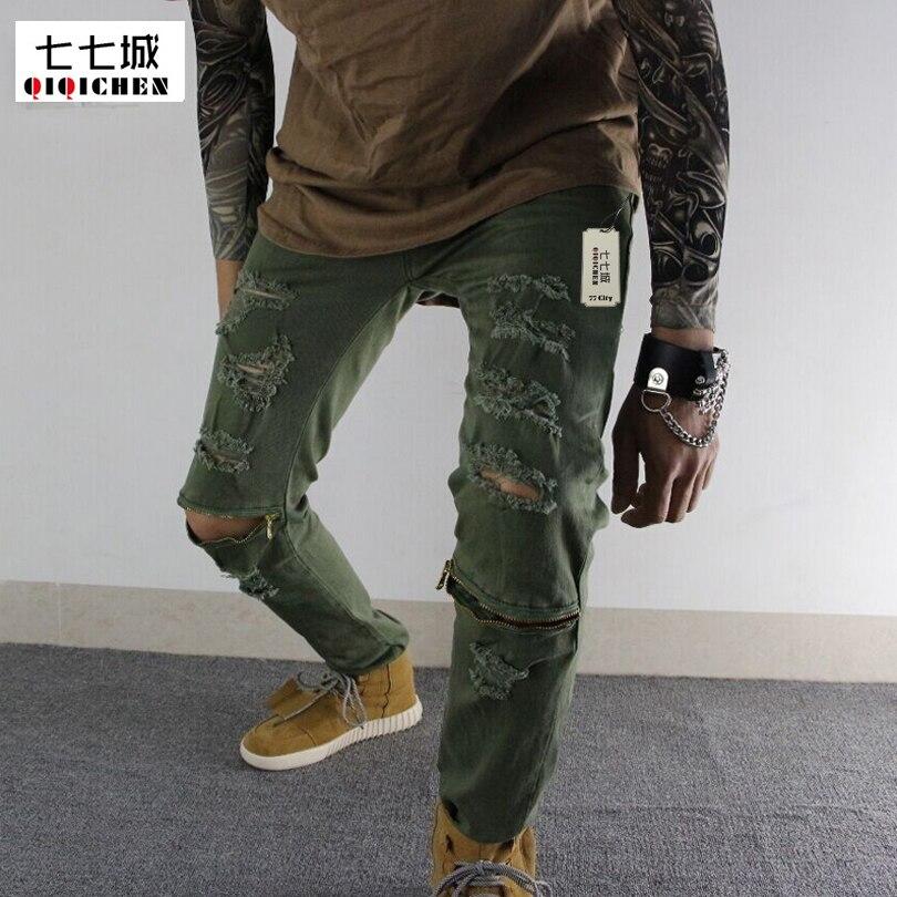 Autumn New Fashion Black Ripped Jeans for Men Pants Hip Hop Skinny Zipper Holes Swag Denim Biker Jeans Trousers Large Size 28-36