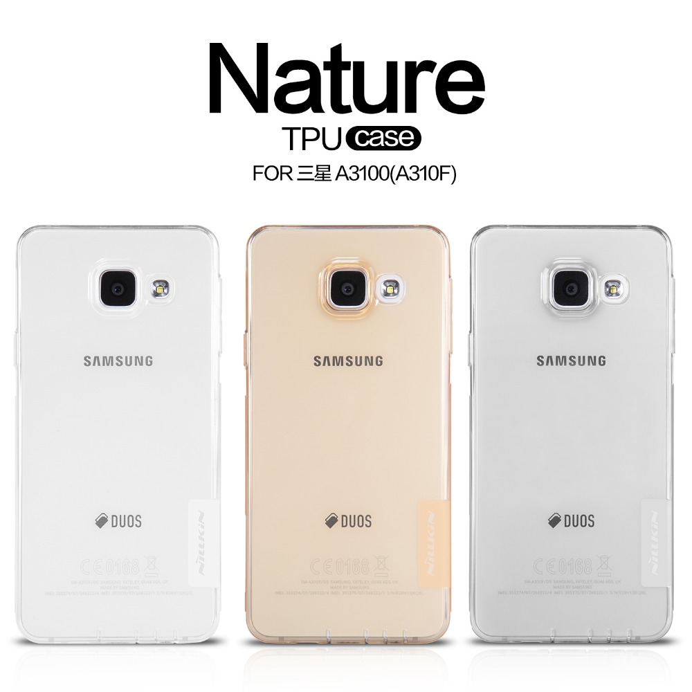 NILLKIN Ultra Thin Transparent Nature TPU Case For Samsung Galaxy A3 2016 A3100 A310F Clear TPU Soft Back cover +Retail package