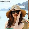 ChenaWolry 1 PC Ao Ar Livre Acessórios de Moda Bohemian Moda Verão Ampla Grande Brim Floppy Chapéu de Palha Chapéu de Praia Cap Sol 12 De Outubro
