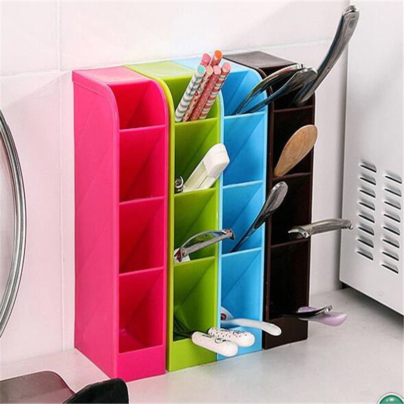 Four Grid Can Be Set Up Office Desk Stationery Storage Box Plastic Cosmetic Storage Box Kitchen Tableware Storage Box