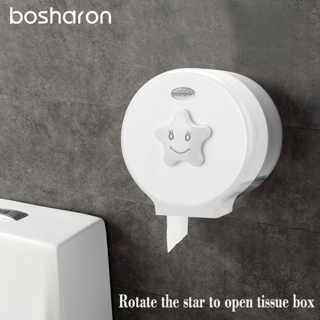 2 Colors Toilet Roll Paper Holder PlasticTissue Box Bathroom Wall Mounted  ABS Dispenser With Lovely Design