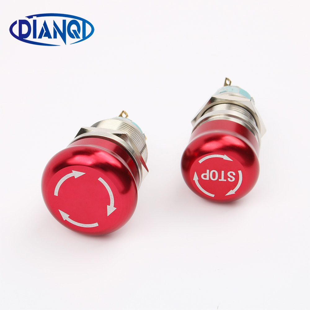 19mm 22mm Metal Waterproof aluminum Push Button Switch mushroom emergency stop latching press button Non-slip 19JT(STOP)/L.S.KB ac 600v 10a normal close plastic shell red sign emergency stop mushroom knob switch 22mm elevator emergency stop switch