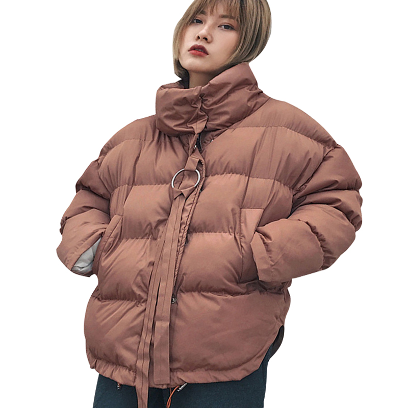 2017 High Quality Women Winter Girls Jacket Fashion ArmyGreen Bread Parkas Female Casual Oversized Warm Wadded Coat Outwear New