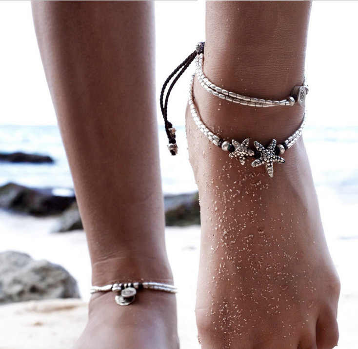 Retro Anklet For Women Girls Ankle Leg Chain Charm Starfish Beads Bracelet Fashion Beach Jewelry Vintage Bracelet Foot Jewelry