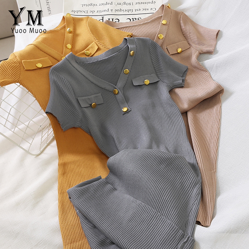 YuooMuoo Elegant Buttons V Neck Knitted Bodycon Dress 2019 Summer Women Basic Korean Black Midi Dress Chic Ladies Office Dresses