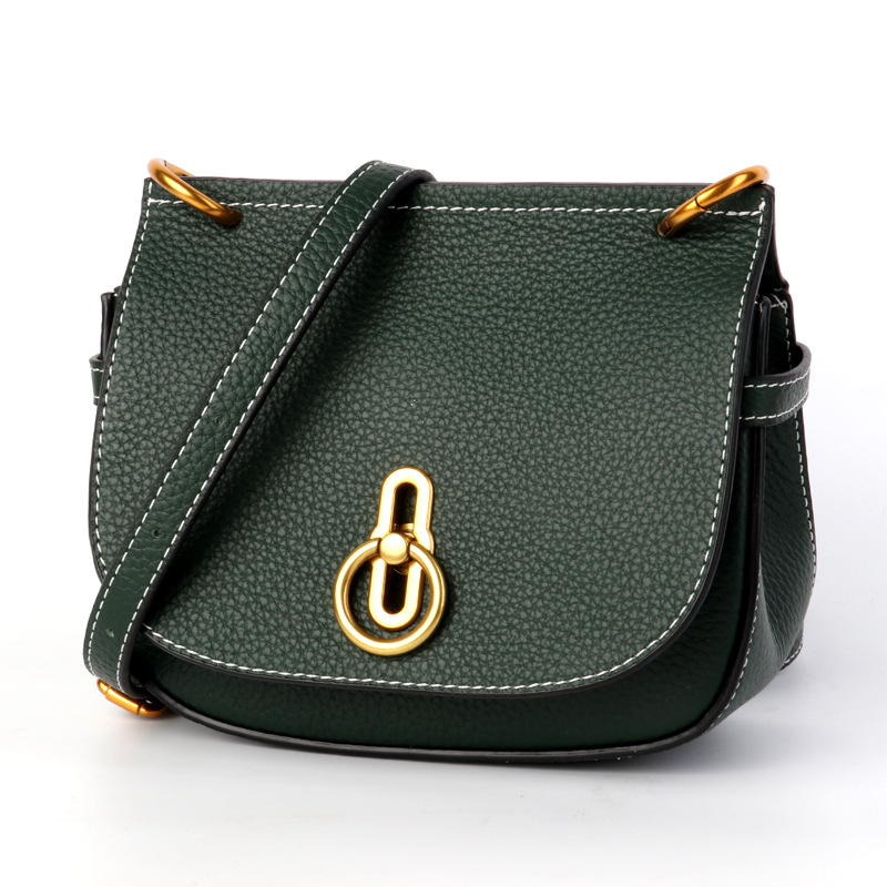 Womens new leather shoulder high quality metal buckle saddle bag Korean mens layer ba