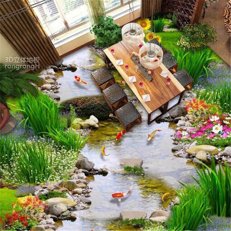 Beibehang 3D plant floral floor film small stream water nine fish figure 3D floor floor tiles to map non-slip durable PVC floor stream хатанга 3 sport