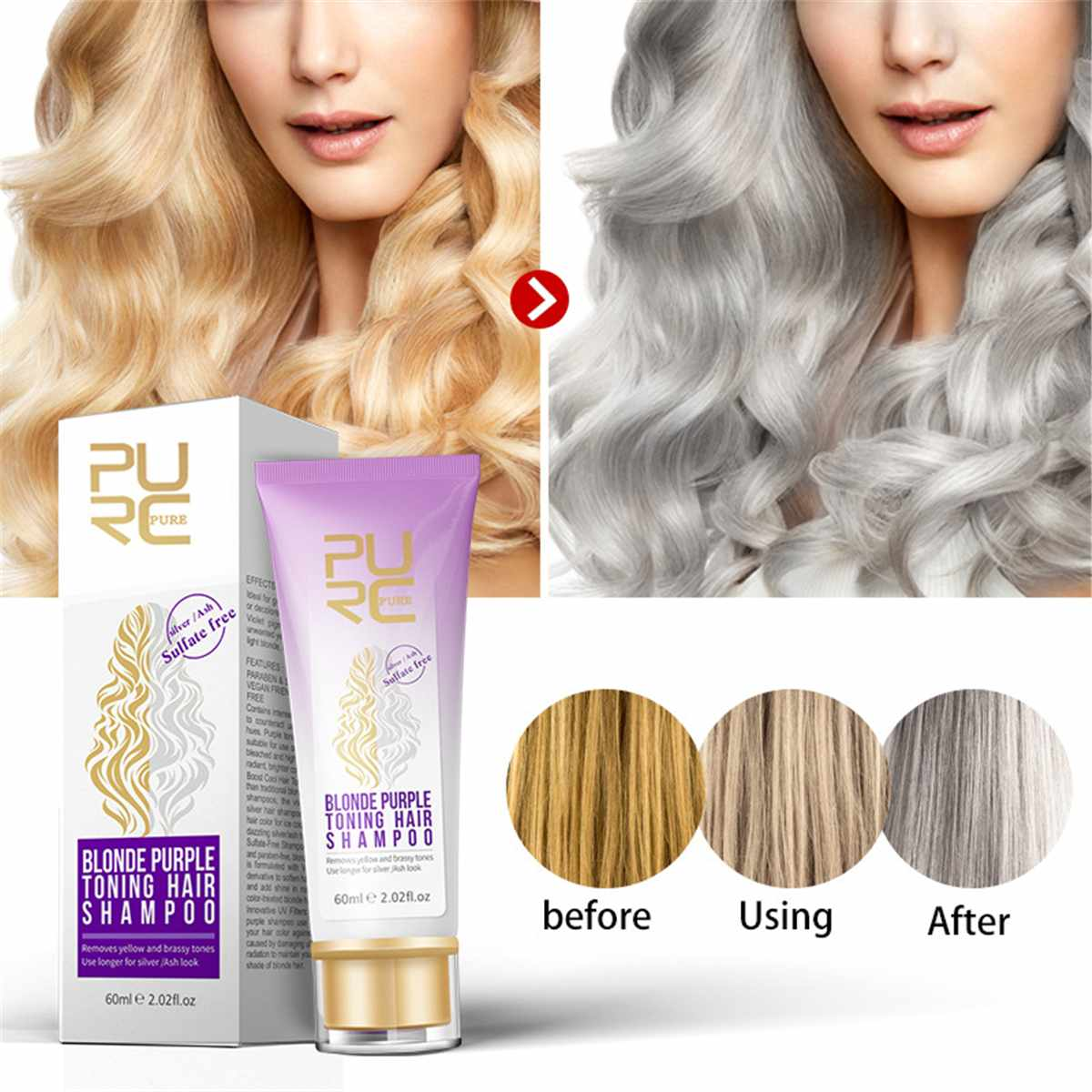 PURC Hair-Shampoo-Removes Blonde Silver Purple Yellow And For Ash-Look Brassy-Tones