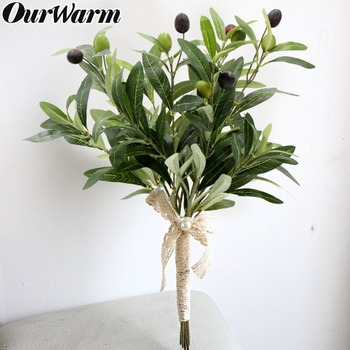 OurWarm, 10 Uds., rama de olivo Artificial de 43cm con frutas, plantas falsas decorativas para Decoración de mesa de boda, ramo de novia DIY