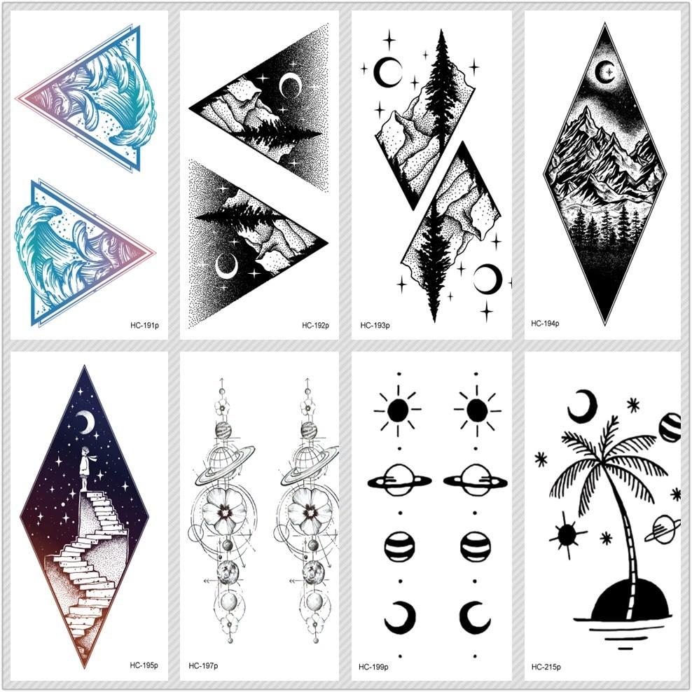Rocooart Moon Mountain Temporary Tattoo Stickers Ecology Fake Tattoo Planet Tatuajes Ocean Taty Coconut Tree Waterproof Tatouage