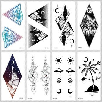 Rocooart Moon Mountain Temporary Tattoo Stickers Ecology Fake Tattoo Planet Tatuajes Ocean Taty Coconut Tree Waterproof Tatouage