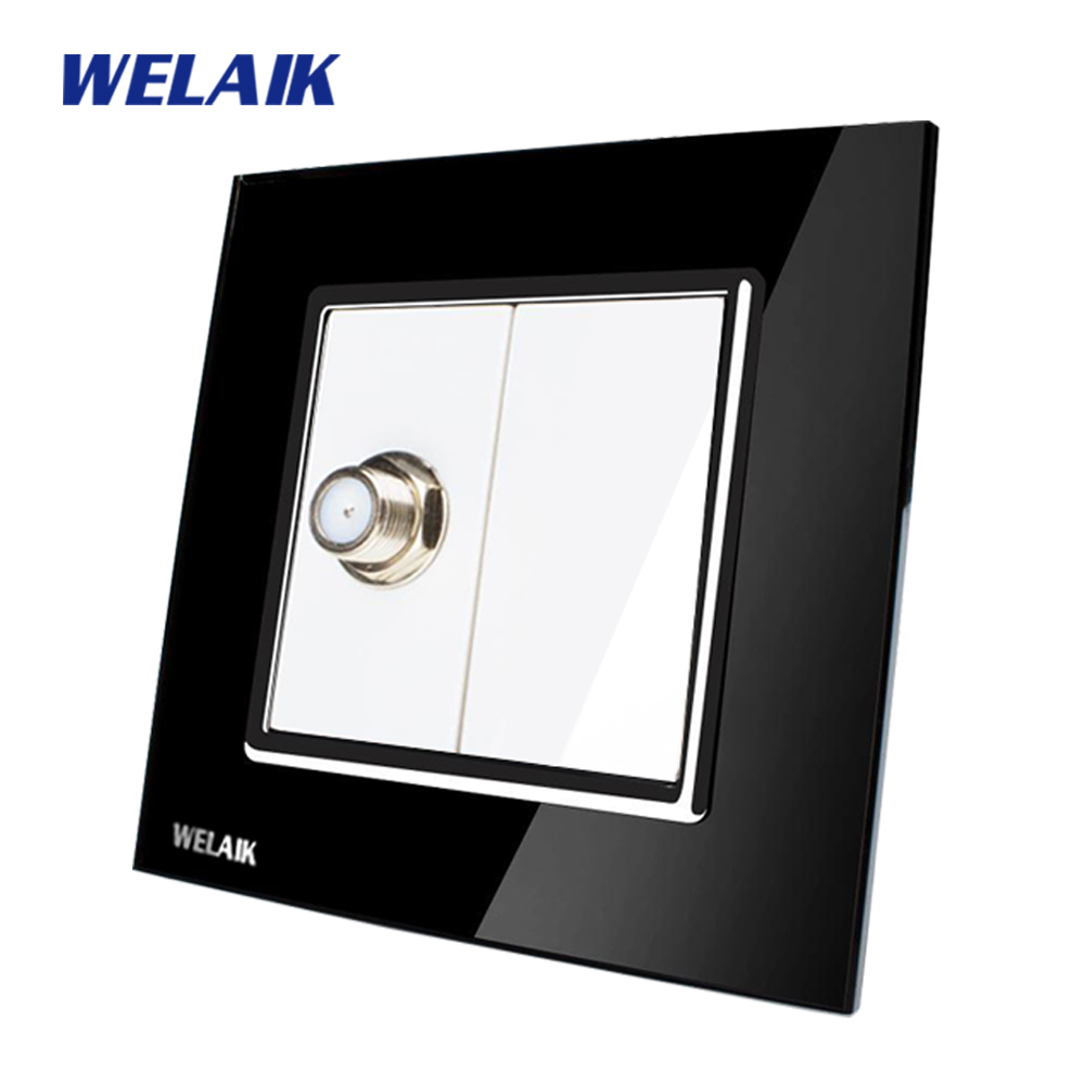 WELAIK  Free shiping Crystal Glass Panel 1Frame EU Black Wall Socket Satellite sockets  socket A18SAB free shipping car refitting dvd frame dvd panel dash kit fascia radio frame audio frame for 2012 kia k3 2din chinese ca1016