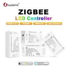 ZIGBEE светодиодный контроллер эхо совместимость Светодиодный контроллер RGB + ССТ/WW/CW zigbee регулятор светодиодной яркости DC12-24V ZLL контроллер светодиодный
