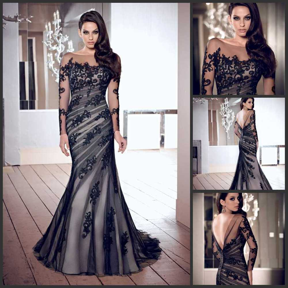 Free Shipping Mermaid Appliques Long Sleeves Low Back Black Tulle Elegant Long Formal Evening Gown Mother Of The Bride Dresses