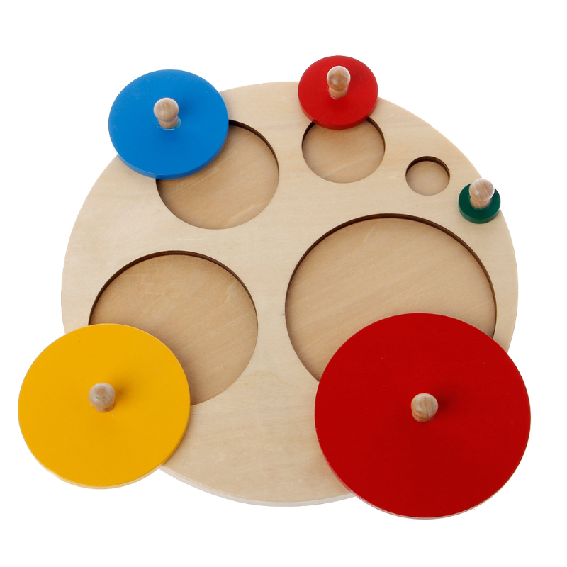 Wooden Round Shapes Learning Educational Preschool Kids Children Toys