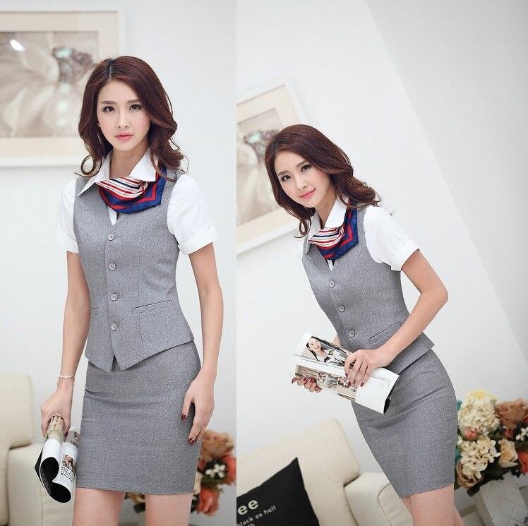 new elegant grey spring summer business work wear suits vest and