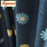 Luxus bestickt sonnenblumen Blackout Vorhänge Tüll Vorhänge großhandel Dunkelblau Südkorea fenster blind vorhänge Neue WP340 * 30