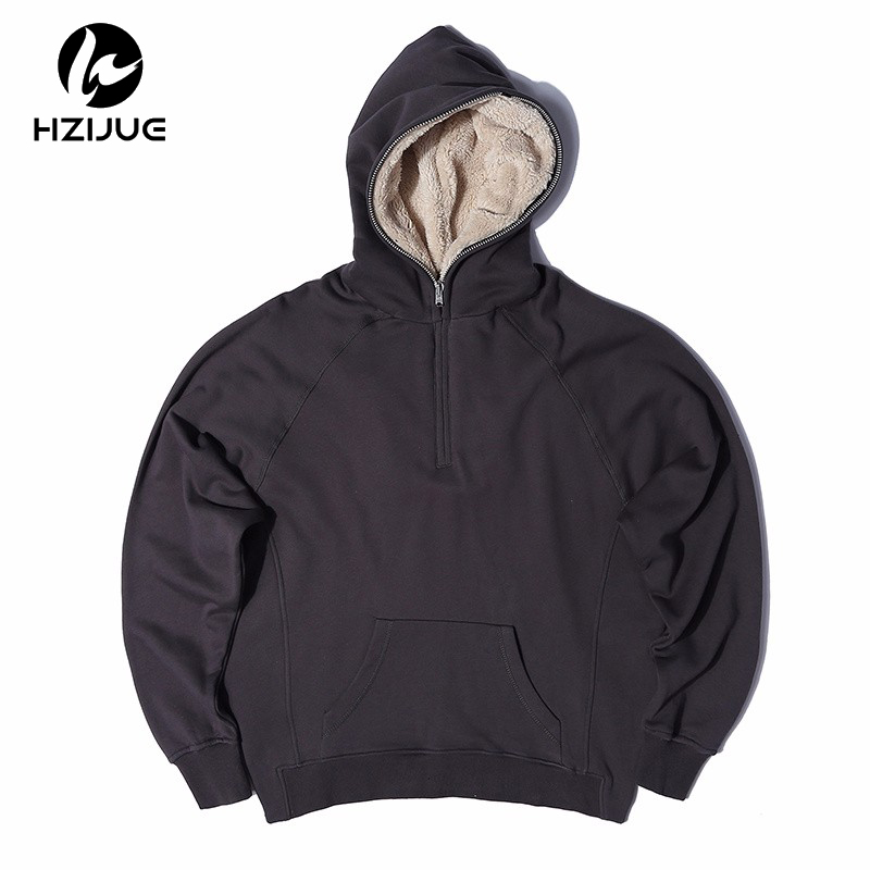 HZIJUE Mens Oversized Sherpa Hoodies 3 Colors Side Split Streetwear Fleece Zipper Sweatshirts Justin Bieber Skateboard
