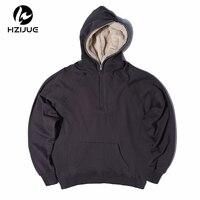 HZIJUE Mens Oversized Sherpa Hoodies 3 Colors Side Split Streetwear Fleece Zipper Sweatshirts Justin Bieber Skateboard