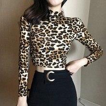Spring High Collar Chic Sexy Leopard Zebra Short T Shirt Women Korean Style Long Sleeve Womens Streetwear Tops
