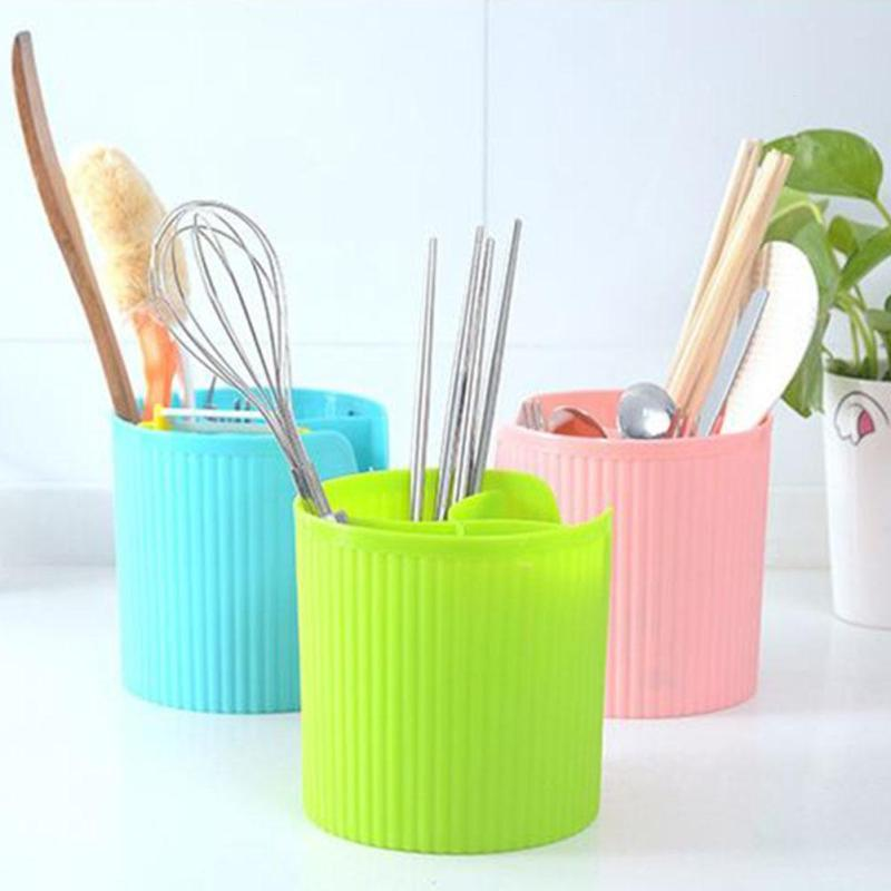 Kitchen Storage Box Organizer Draining Chopsticks Tableware Cutlery Tube Cylinder Drying Toothbrush Holder Desktop Trash Cans