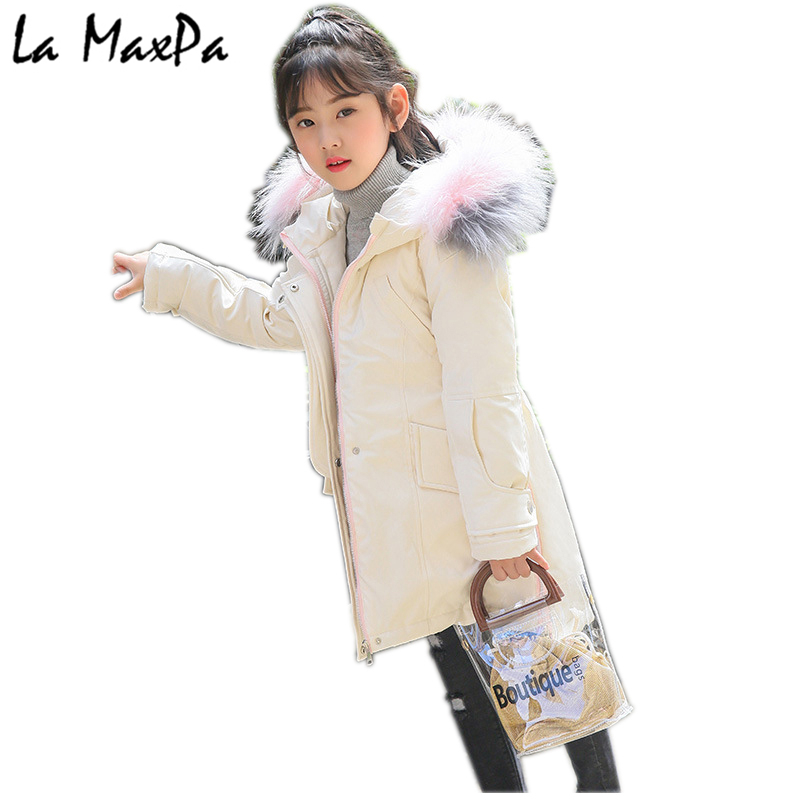 New 2018 Fashion Children Winter Jacket Girl Winter Coat Kids Warm Thick Fur Collar Hooded long down Coats For Teenage 5Y-14Y girls down coats girl winter new 2018 fashion children coat kids warm thick fur collar hooded long down parka for teenage 4y 14y
