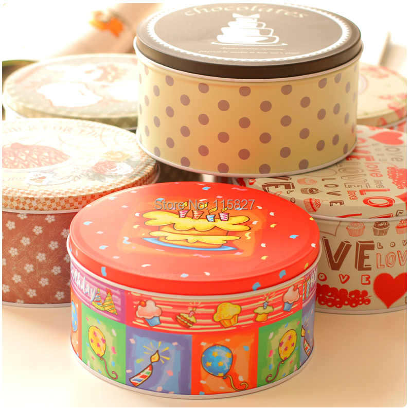 Free Shipping!6pc Handmade Cookies Biscuit Tin Round storage box Metal Snack box Food Container Gift Box Candy Can Mix design
