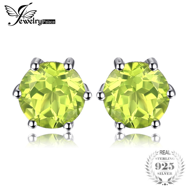 JewelryPalace Natural Peridot Stud Earrings Genuine 925 Sterling Silver Jewelry