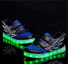 2017 Kids luminous shoes LED shoes USB recharge for girls boys children sneakers illuminated 7 colors glowing casual with light